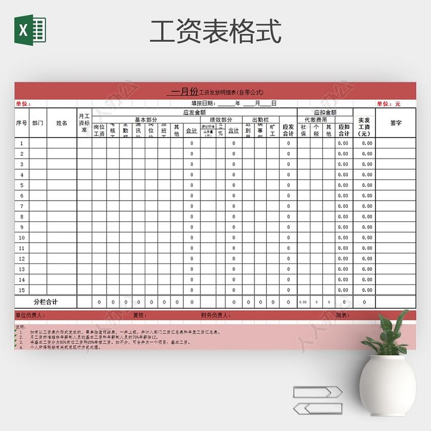 工厂员工工资单表格_员工月工资结算表格Excel模板-人人办公